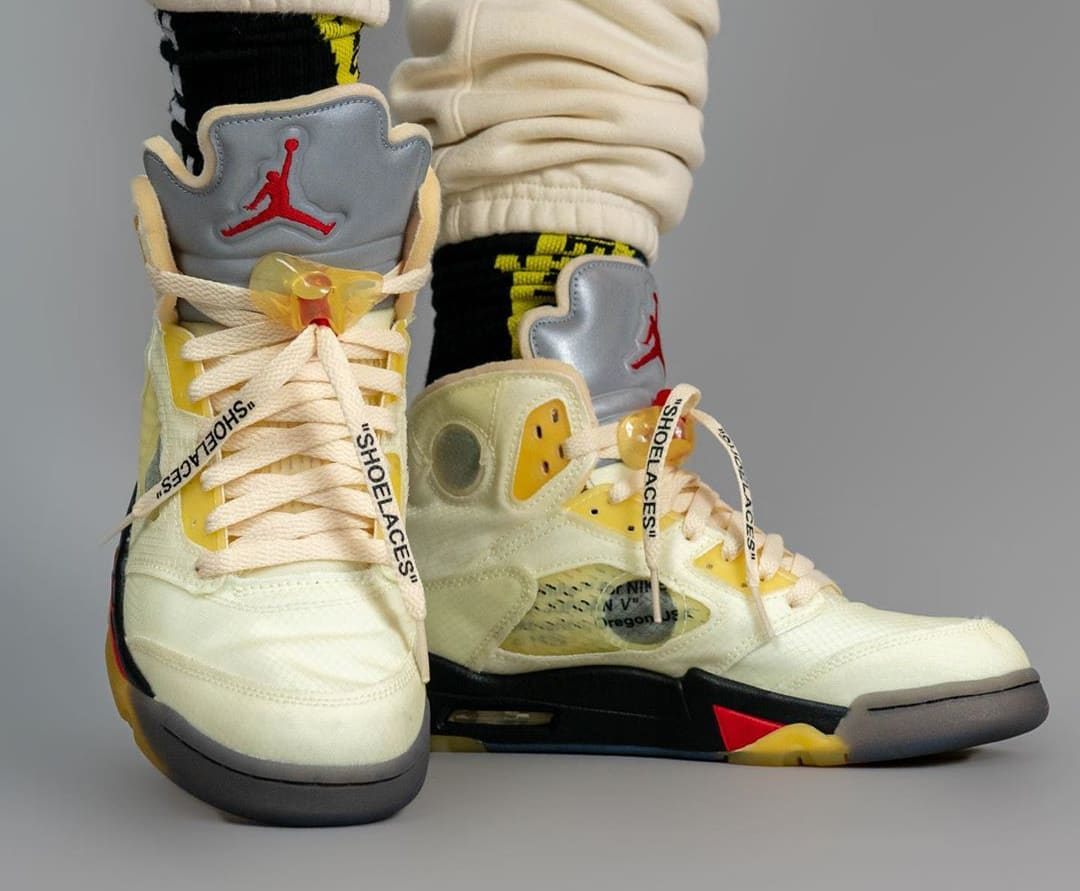 Off-White Air Jordan 5 Sail Fire Red Release Date DH8565-100 On-Feet