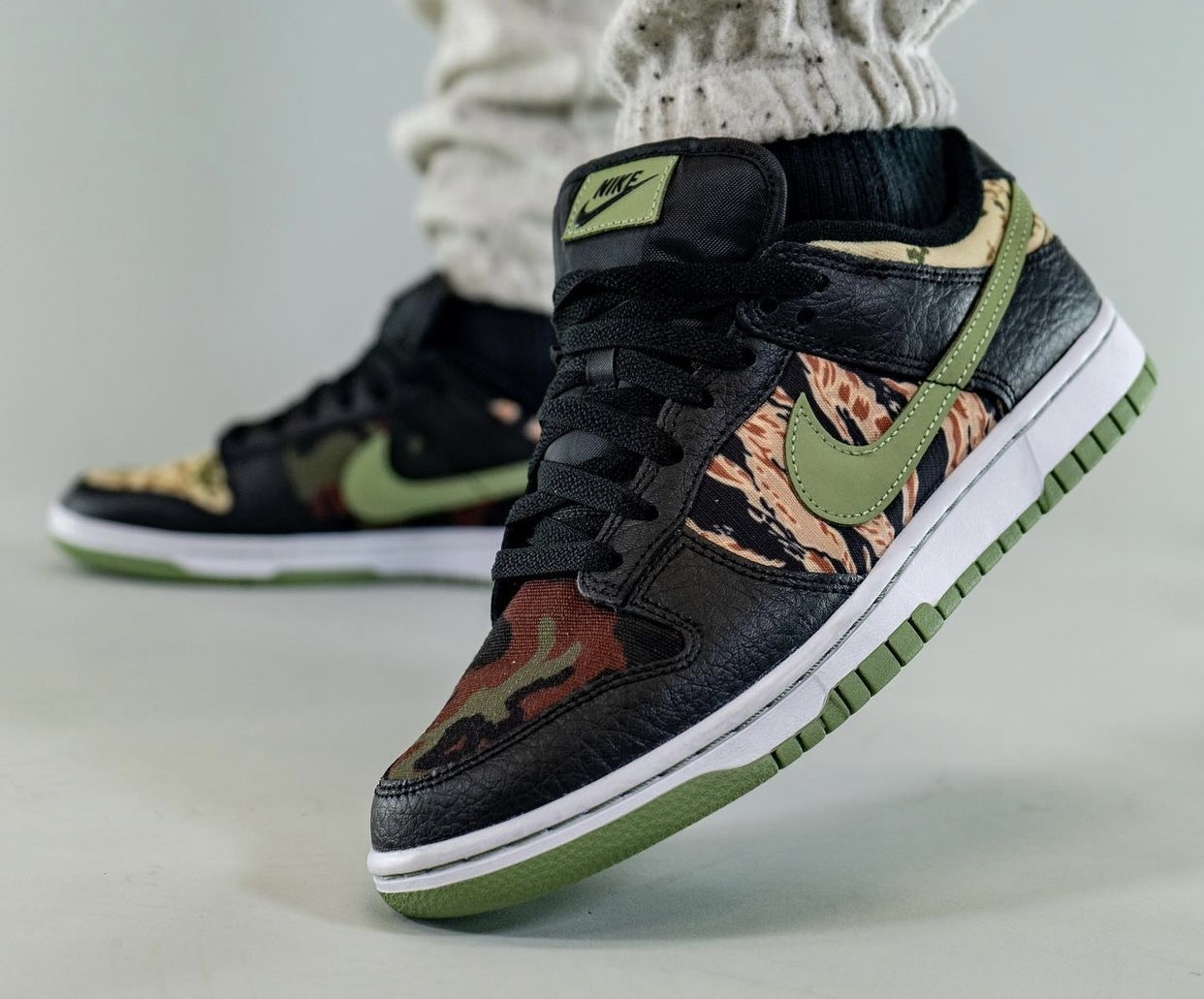 Nike Dunk Low Camo DH0957-001 Release Date On-Feet
