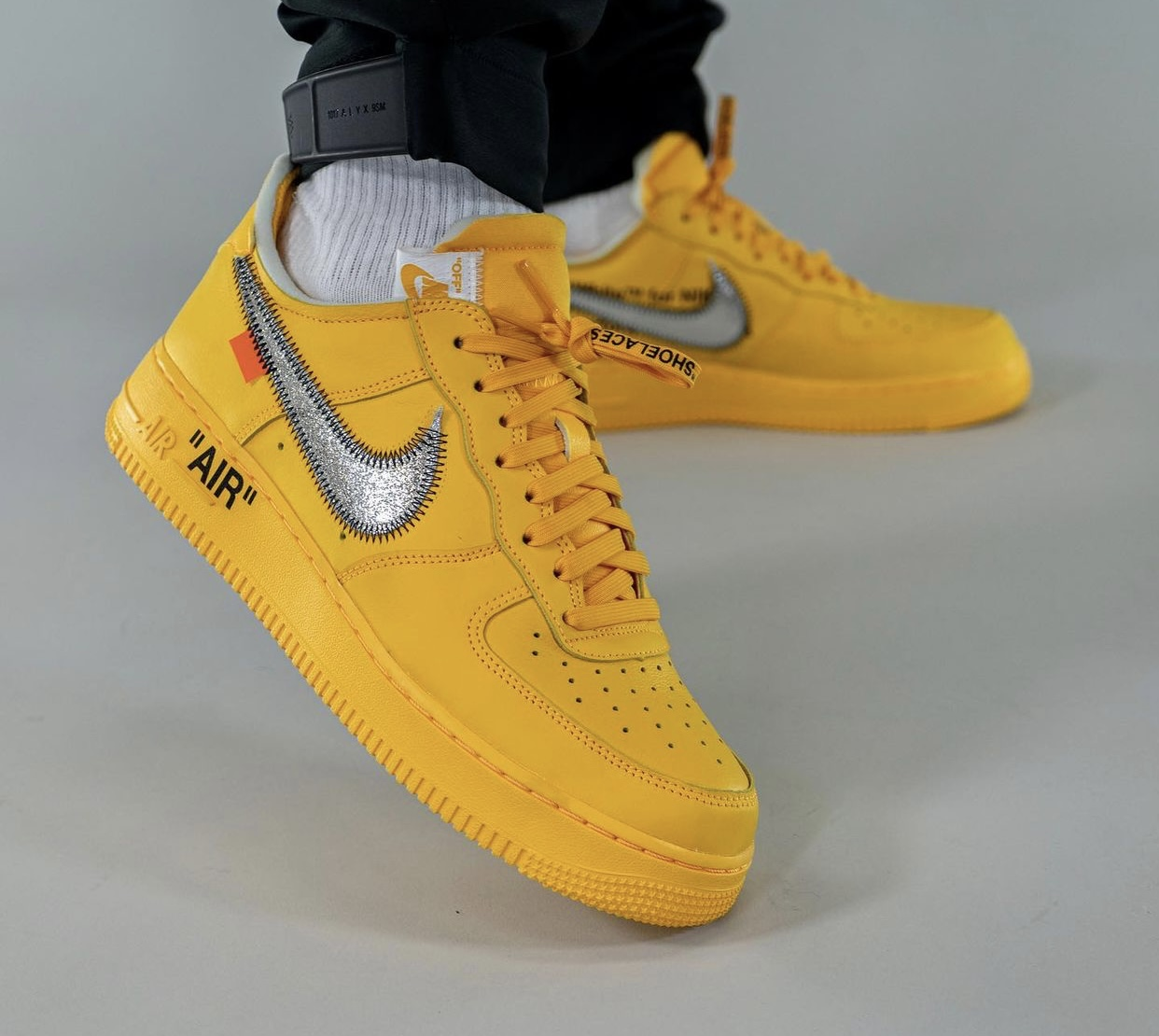 Off-White x Nike Air Force 1 Low University Gold DD1876-700 Release Date On-Feet