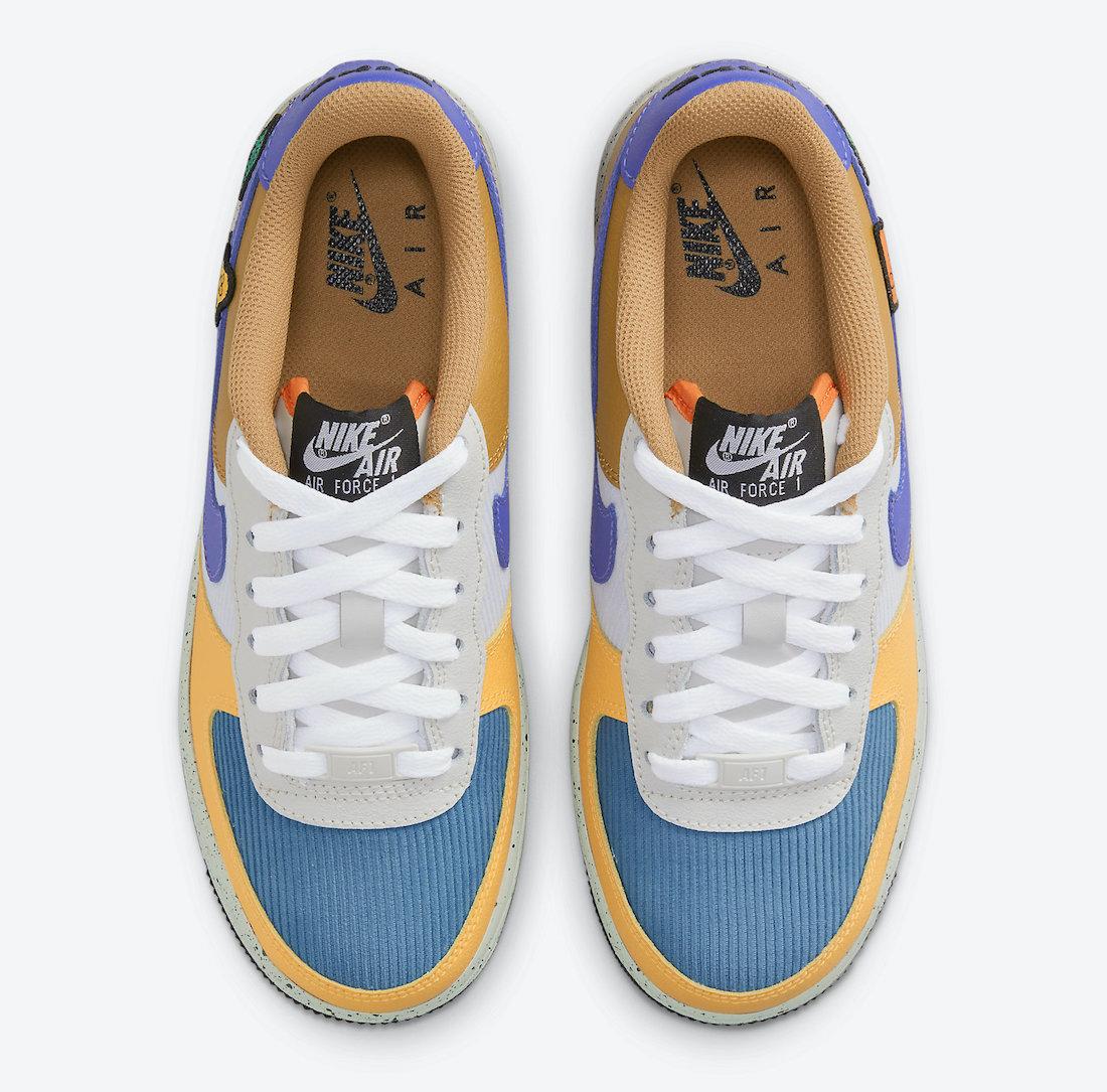 Nike Air Force 1 GS University Gold Light Bone Starfish Orange Blue Stone DO4657-740 Release Date