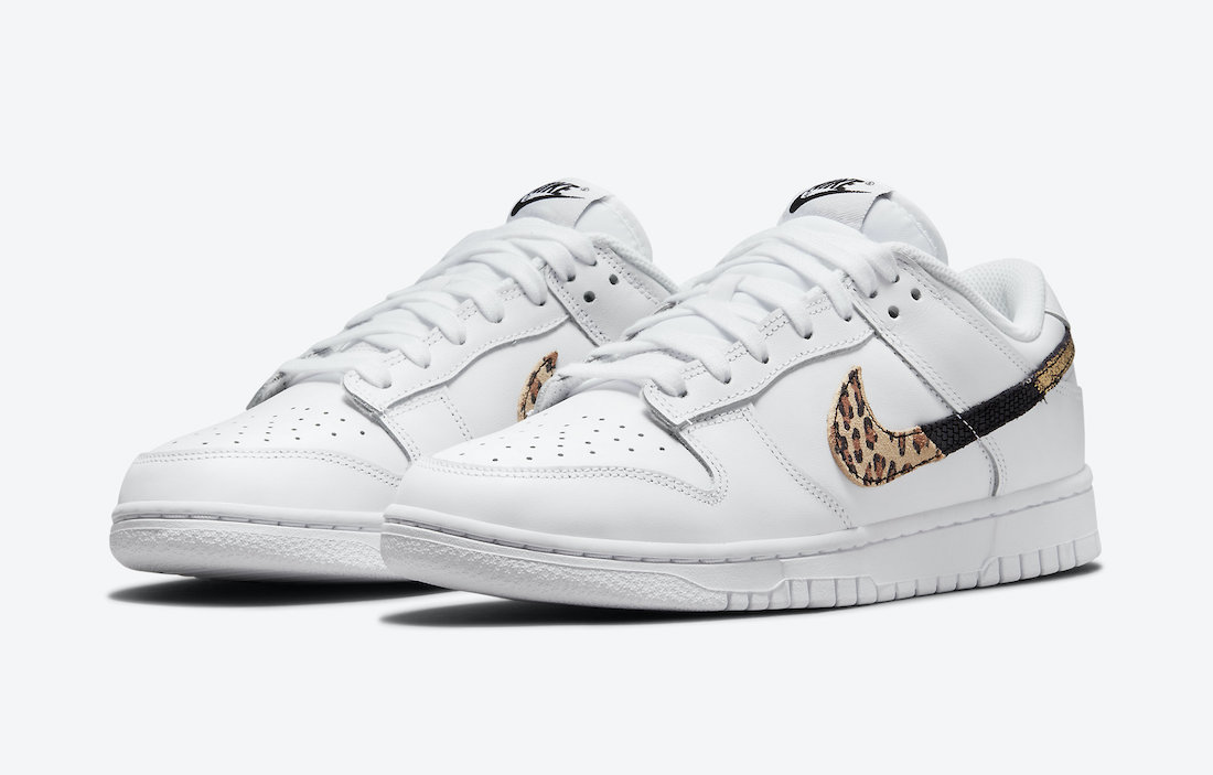 Nike Dunk Low Revealed in White With Split Animal Print Swooshes