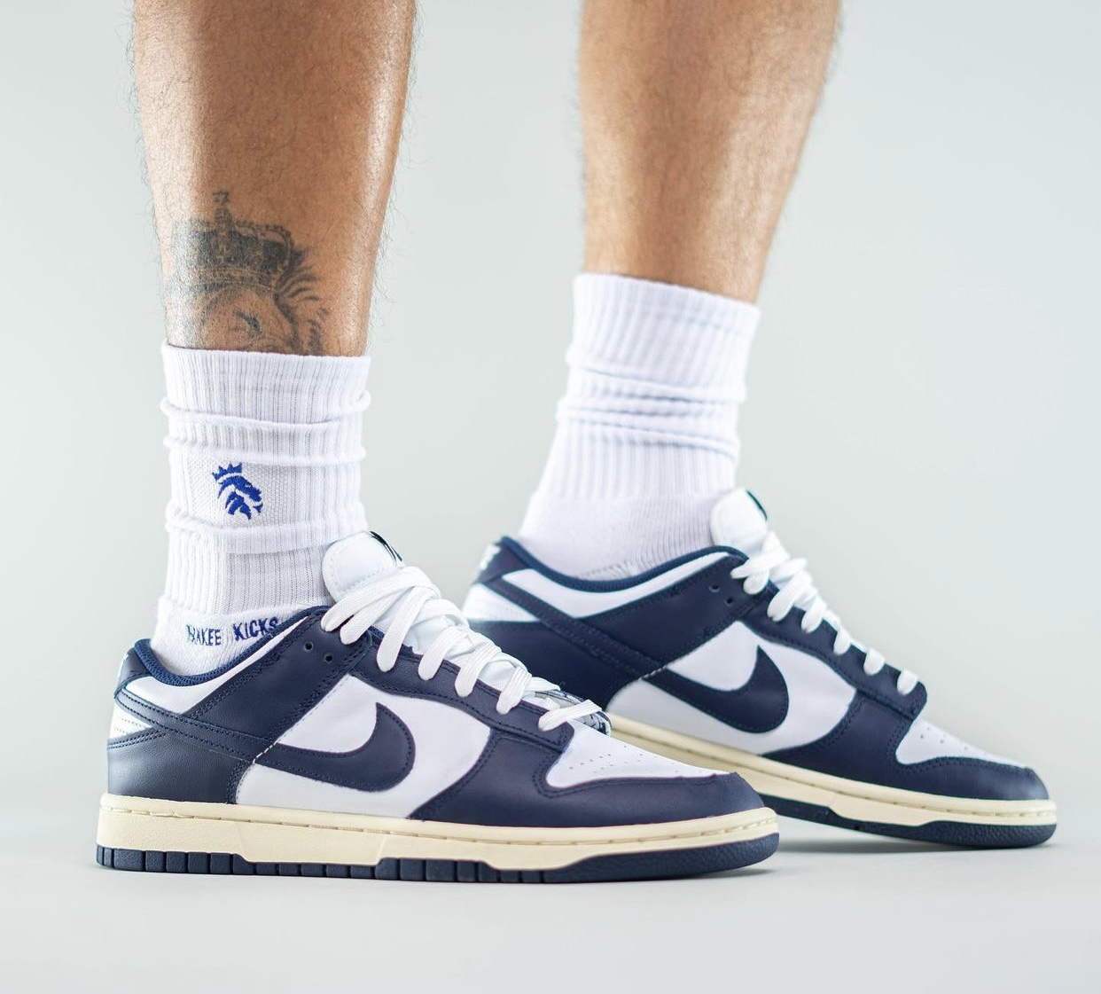 Nike Dunk Low Navy White Aged Release Date On-Feet